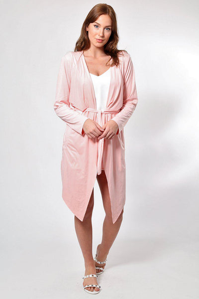 Pink Suedette Waterfall Front Cardigan-SinglePrice