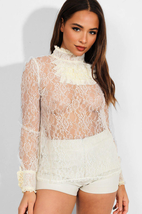 Cream Sheer Delicate Lace High Neck Jabot Blouse - SinglePrice