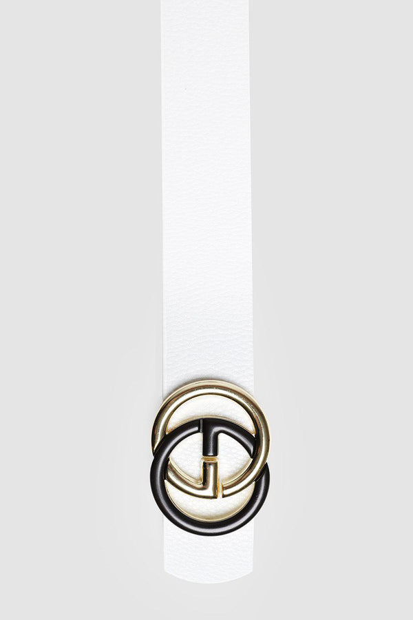 Black And Gold Buckle White Belt-SinglePrice