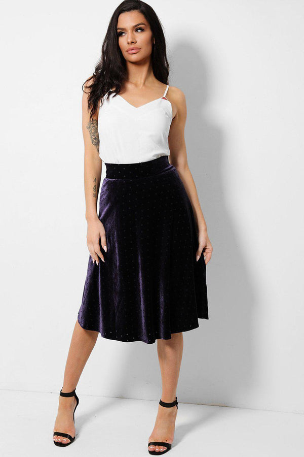 Purple Polka Dot Velvet Midi Skirt - SinglePrice
