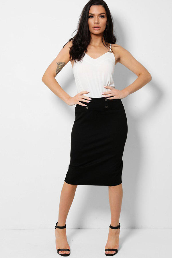 Black Button Details Stretchy Pencil Midi Skirt - SinglePrice