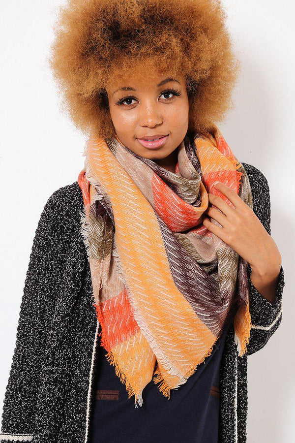 Autumn Multicolours Strike Through Taupe Square Scarf - SinglePrice