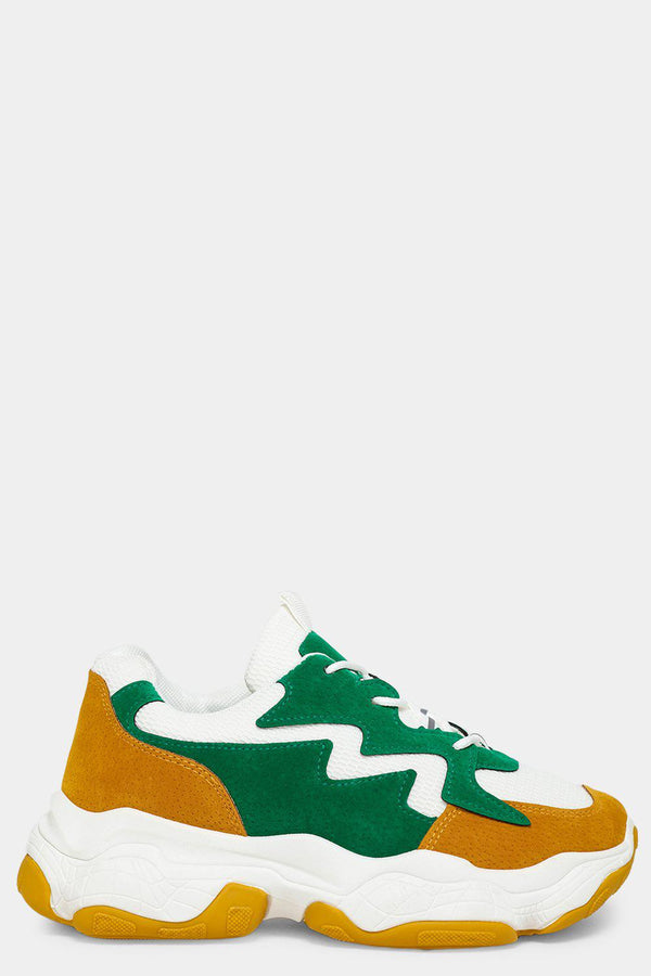 Green Vegan Suede Zig Zag Panels White Trainers-SinglePrice