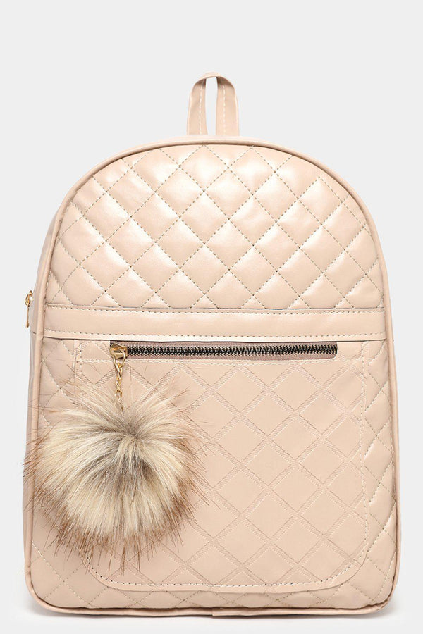 Beige Quilted Pom Pom Detail Backpack-SinglePrice