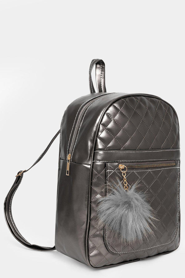 Silver Quilted Pom Pom Detail Backpack-SinglePrice