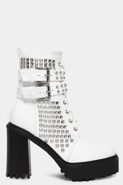 White Studded Lace Up Block Heel Boots - SinglePrice