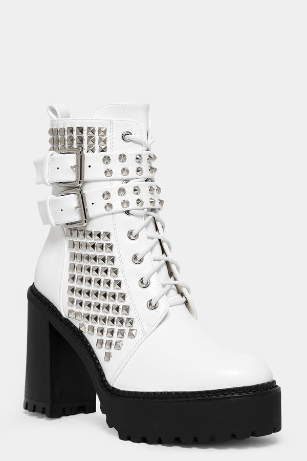 White Studded Lace Up Block Heel Boots-SinglePrice