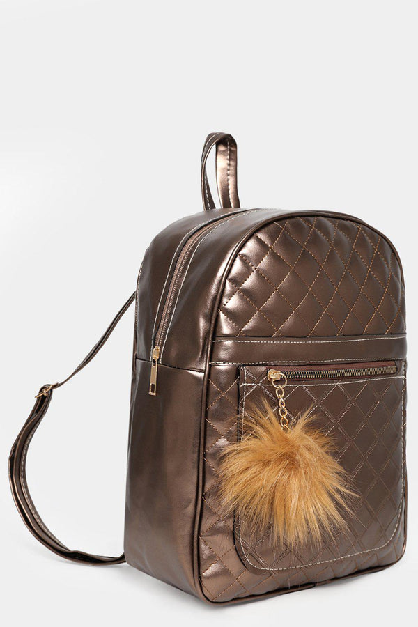 Bronze Quilted Pom Pom Detail Backpack-SinglePrice