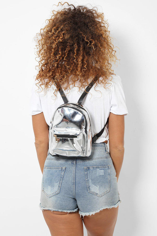 Silver Mirror Reflect Mini Backpack