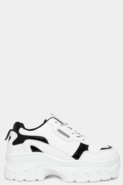 White Vegan Suede And Patent Panels White Chunky Trainers - SinglePrice