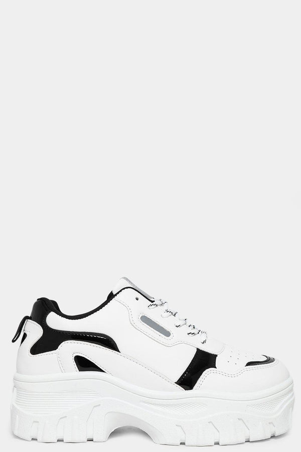 White Vegan Suede And Patent Panels White Chunky Trainers-SinglePrice