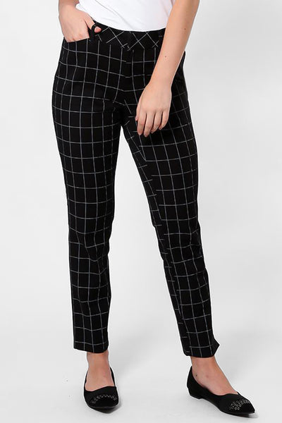 White Line Checked Black Cigarette Pants