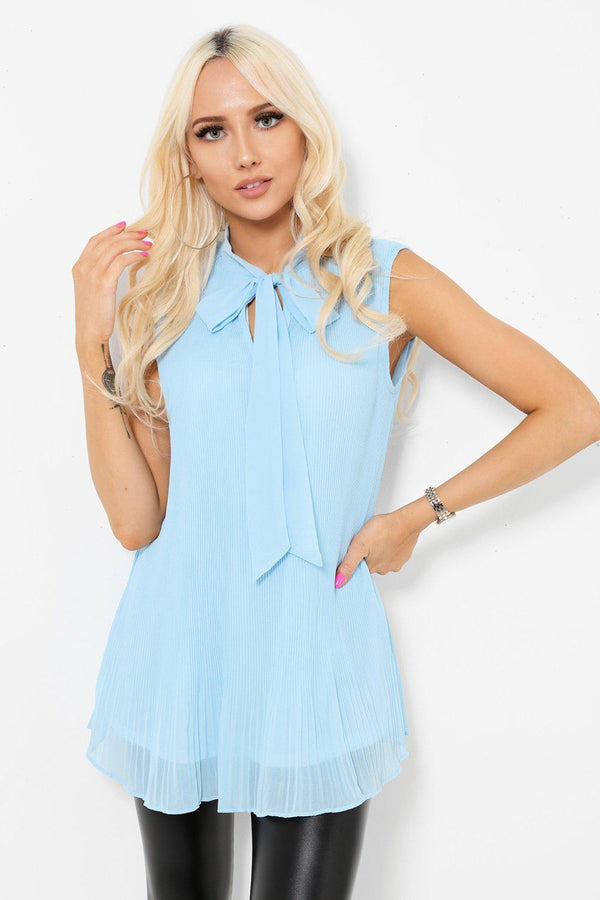 Blue Pleated Bow Tie Neck Top-SinglePrice