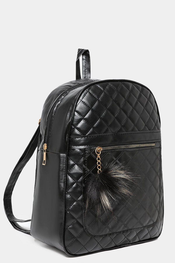 Black Quilted Pom Pom Detail Backpack-SinglePrice