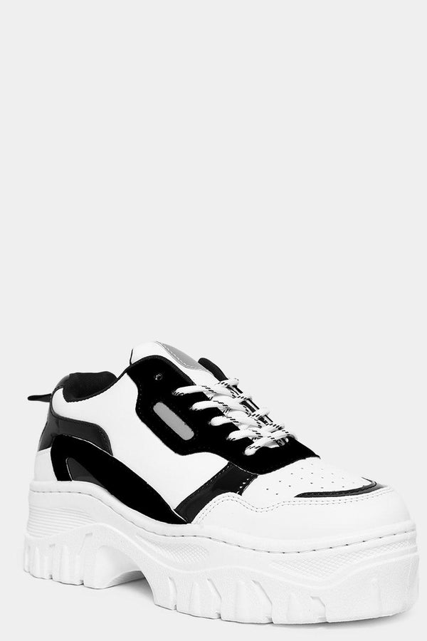 Black Vegan Suede And Patent Panels White Chunky Trainers-SinglePrice