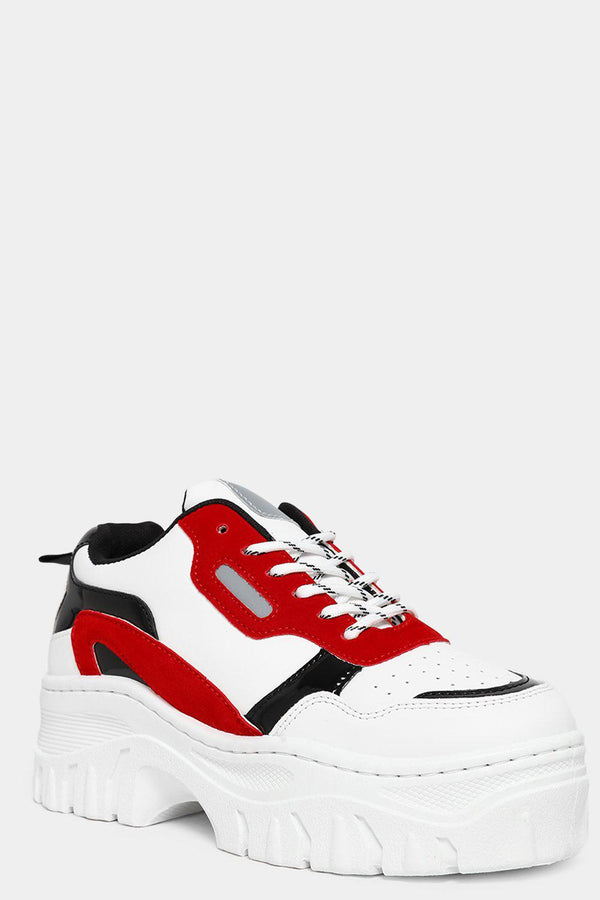 Red Vegan Suede And Patent Panels White Chunky Trainers-SinglePrice