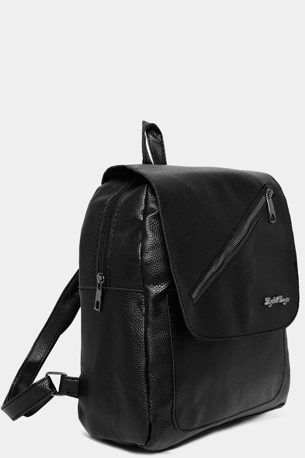 Black Front Flap Zip Detail Backpack-SinglePrice
