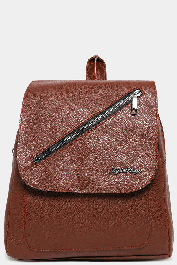 Brown Front Flap Zip Detail Backpack-SinglePrice