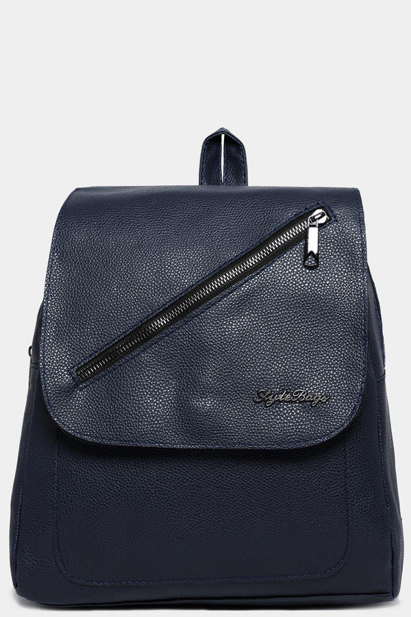 Navy Front Flap Zip Detail Backpack-SinglePrice