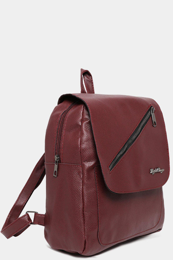 Burgundy Front Flap Zip Detail Backpack-SinglePrice