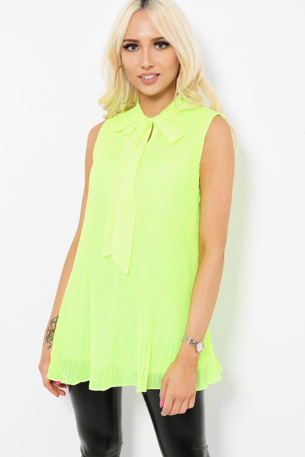 Neon Green Pleated Bow Tie Neck Top-SinglePrice