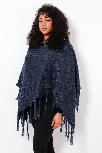Tasseled Ribbed Knit Navy Poncho
