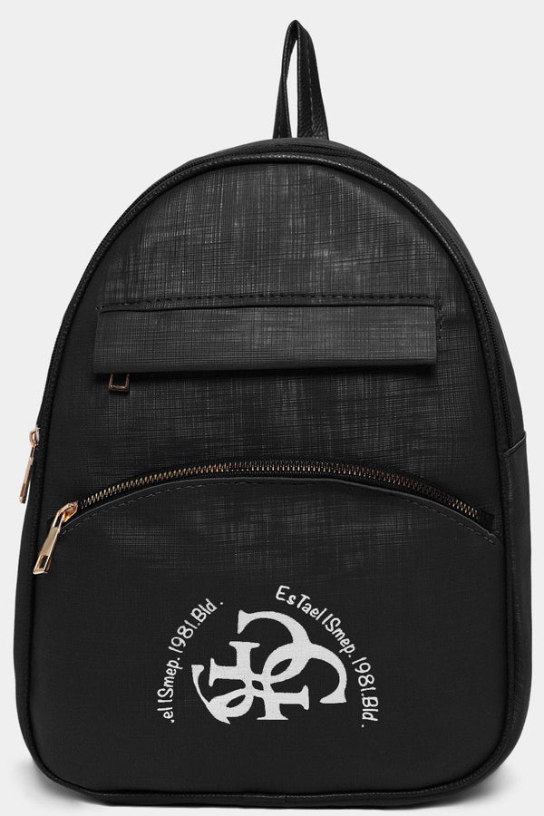 Front Logotype Black Textured Vegan Leather Backpack