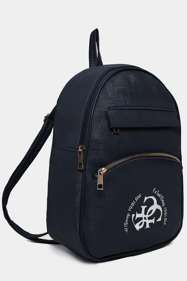 Front Logotype Navy Textured Vegan Leather Backpack