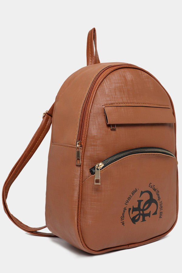 Front Logotype Brown Textured Vegan Leather Backpack
