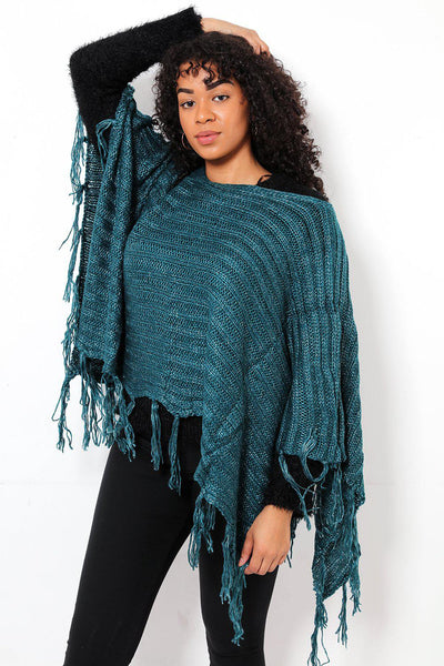 Tasseled Ribbed Knit Green Poncho