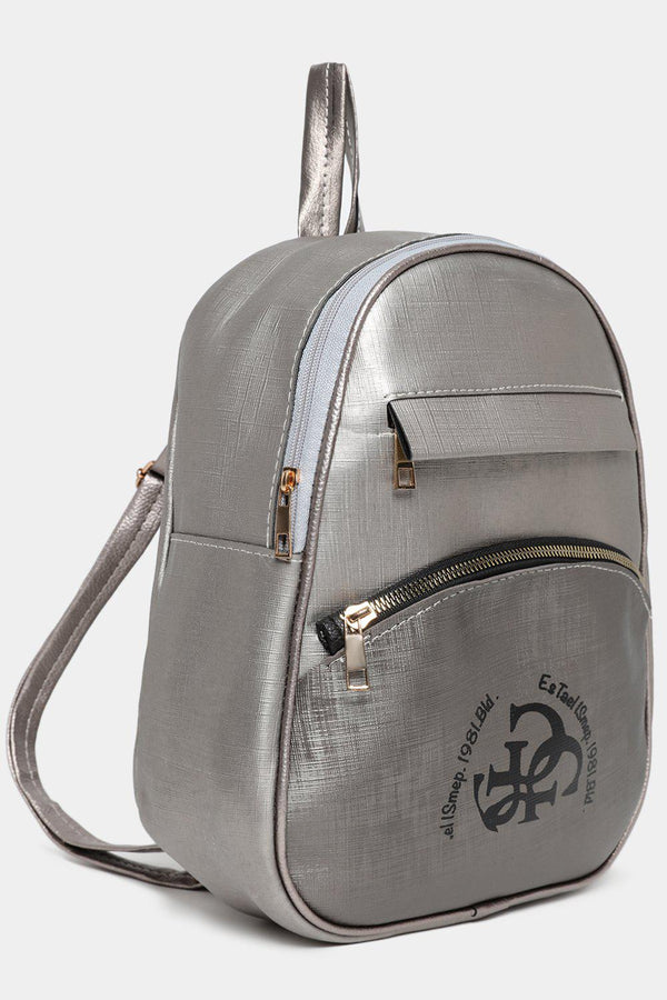 Front Logotype Silver Textured Vegan Leather Backpack