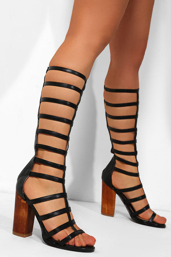 Black Vegan Leather Knee High Heeled Gladiator Sandals - SinglePrice