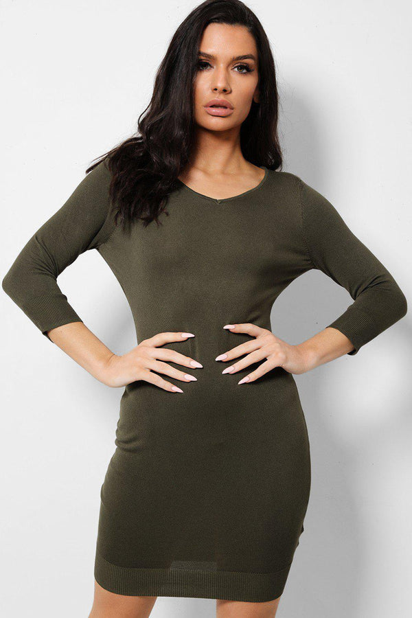 Army Green V-Neck KnittedMini Dress-SinglePrice