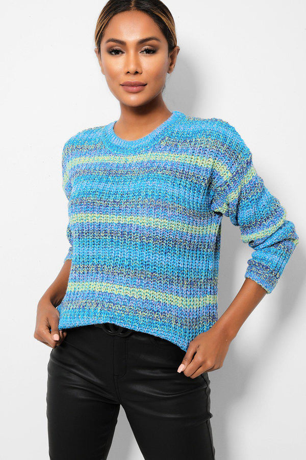 Blue Rib Knit Relaxed Fit Pullover-SinglePrice