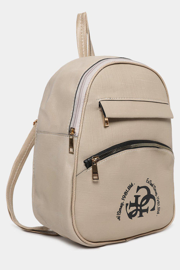 Front Logotype Beige Textured Vegan Leather Backpack