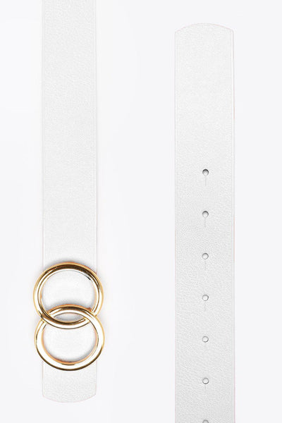 Silver Double Circle Buckle White Belt-SinglePrice