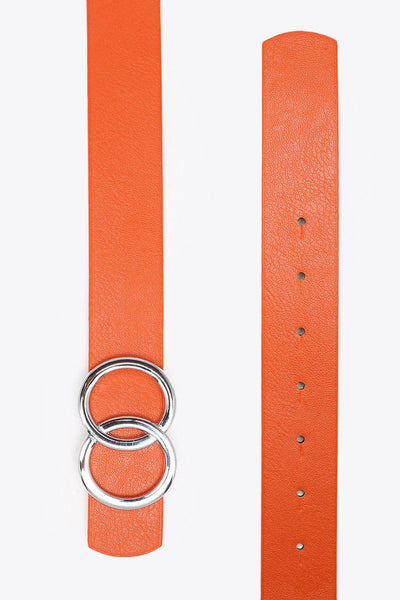 Silver Double Circle Buckle Orange Belt-SinglePrice