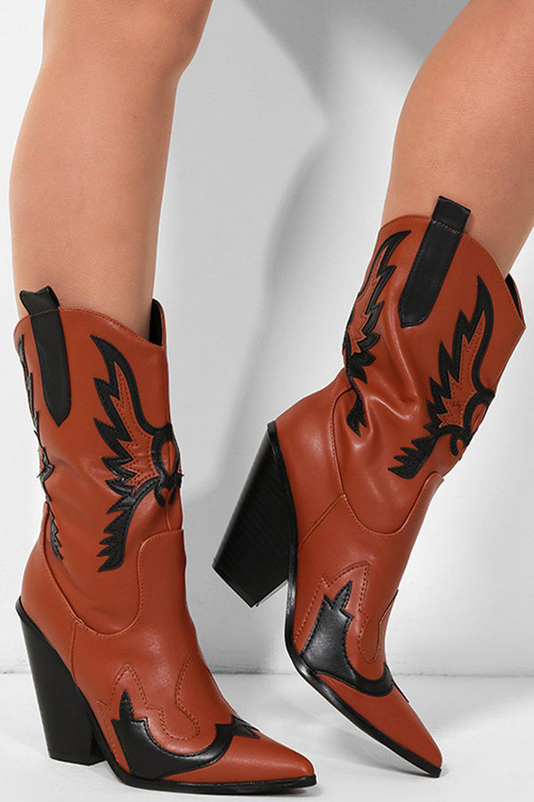 Camel Wings Applique Vegan Leather Cowboy Boots - SinglePrice