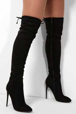 Black Vegan Suede Crystals Over The Knee Stiletto Boots - SinglePrice