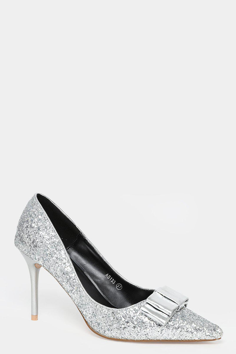 Silver All Over Glitter Bow Detail Stiletto Heels