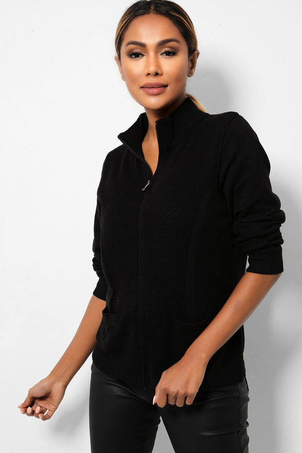 Black Full Zip Purl Knit High Neck Jacket-SinglePrice