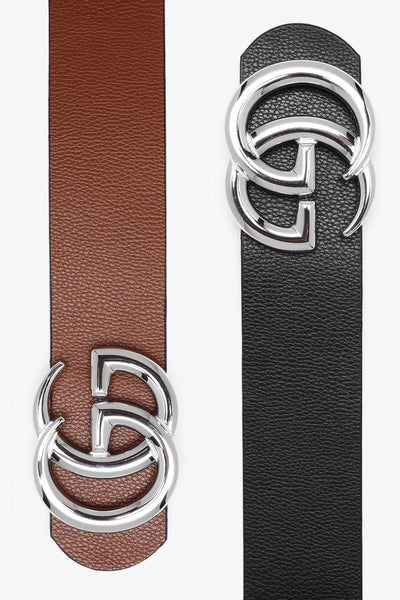 Silver Buckle Black And Brown Reversible Thick Belt-SinglePrice