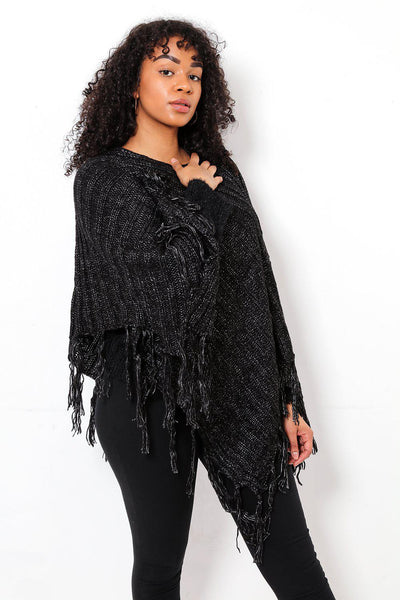 Tasseled Ribbed Knit Black Poncho