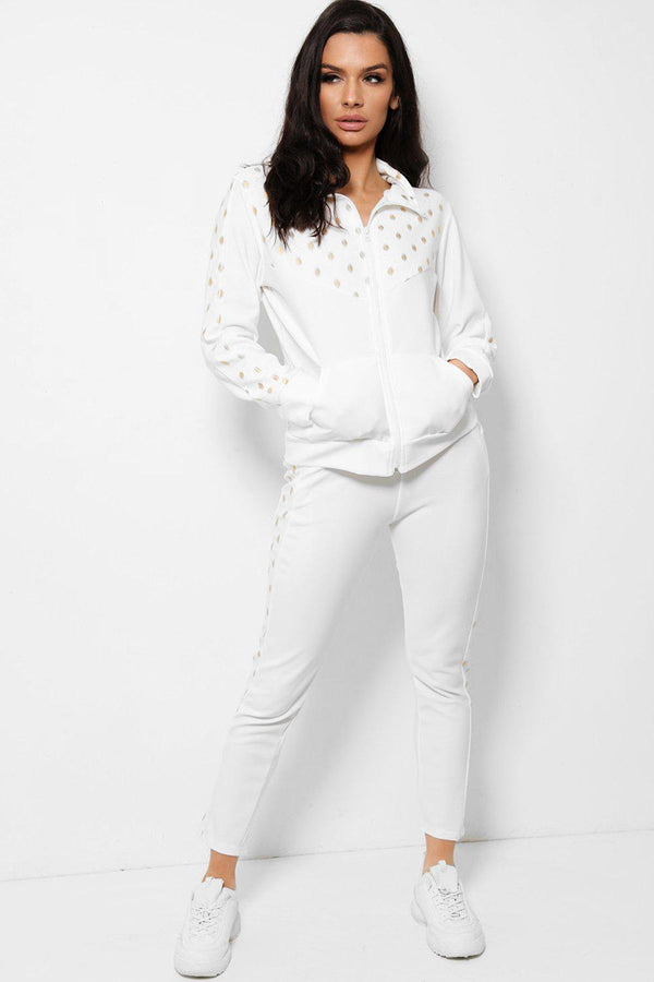 Bokeh Print Panels White Two Piece Tracksuit - SinglePrice