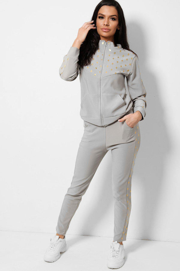 Bokeh Print Panels Grey Two Piece Tracksuit - SinglePrice