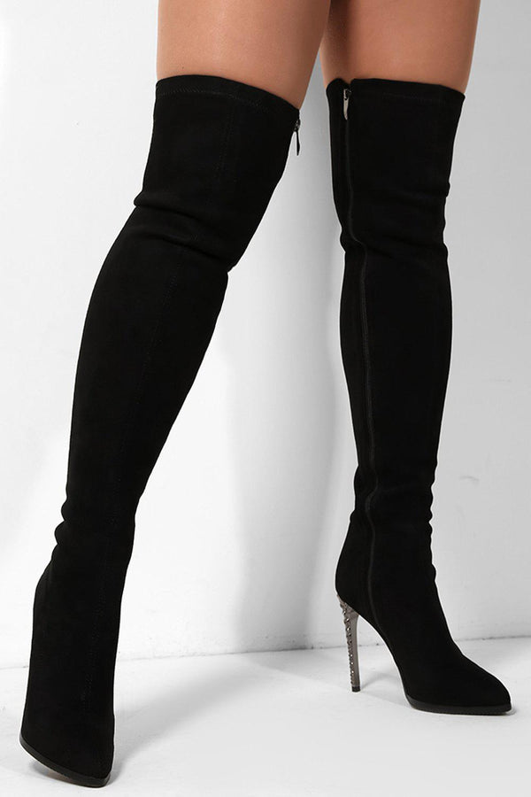 Black Vegan Suede Sequins Over The Knee Stiletto Boots - SinglePrice
