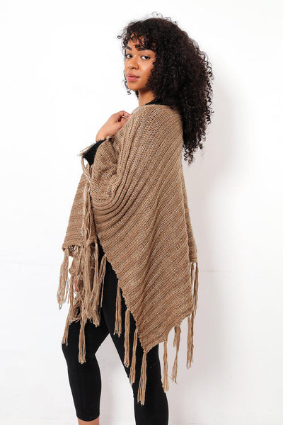 Tasseled Ribbed Knit Brown Poncho