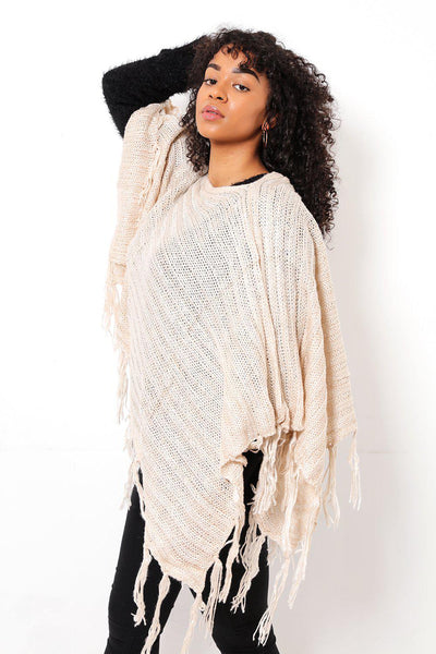 Tasseled Ribbed Knit Cream Poncho