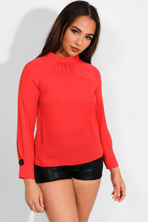 Coral High Neck Lightweight Chiffon Blouse - SinglePrice