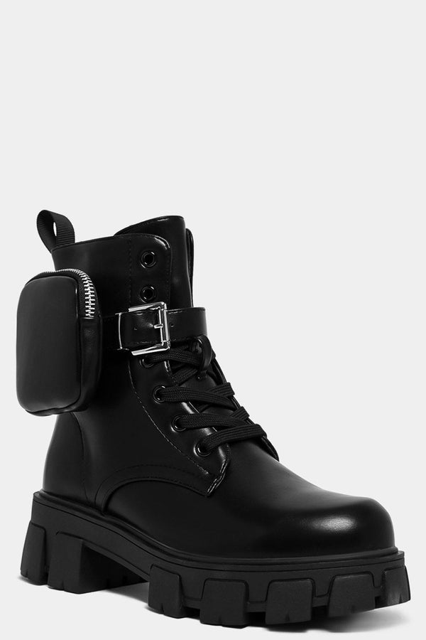 Black Vegan Leather Detachable Pouch Detail Chunky Boots-SinglePrice